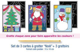 "Set de 3 cartes à gratter ""Noël"" + 3 grattoirs - Cartes à gratter, cartes à sabler - 10doigts.fr"