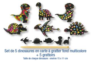 Set de 5 dinosaures en carte à gratter + 5 grattoirs - Activités enfantines - 10doigts.fr