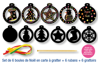Set de 6 boules de Noël en carte à gratter + 6 grattoirs + 6 rubans satin - Cartes à gratter, cartes à sabler - 10doigts.fr