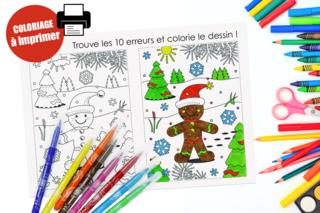 Coloriage de Noël + jeu des 10 erreurs - Noël - 10doigts.fr