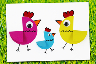 Poules de Pâques en papier (bricolage facile) - Pâques - 10doigts.fr