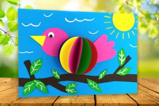 Oiseau 3D en papier - Activités enfantines - 10doigts.fr