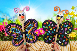 Marionnette papillon avec une cuillère en bois - Activités enfantines - 10doigts.fr
