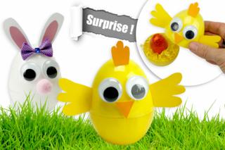 Oeufs surprises de Pâques : poussin et lapin - Pâques - 10doigts.fr