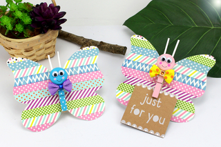 Faire un papillon en papier avec une pince à linge - Activités enfantines - 10doigts.fr