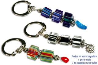 Porte-clefs ou mousqueton de perles bayadères en verre - Bijoux - 10doigts.fr