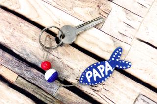 Porte-clés Poisson PAPA - Bijoux - 10doigts.fr