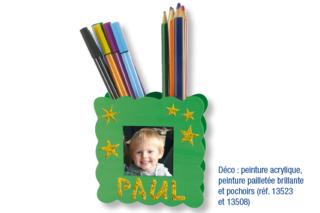 Pot à crayons porte-photo ondulé - Activités enfantines - 10doigts.fr