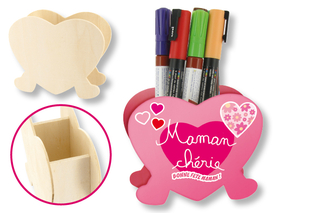 Pot à crayons coeur - Activités enfantines - 10doigts.fr