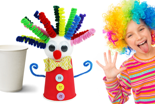 Fabriquer un clown rigolo avec un gobelet en carton - Carnaval, fêtes, masques - 10doigts.fr