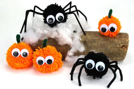 Araignées et citrouilles en pompons - Halloween - 10doigts.fr