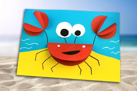Crabe 3D en papier - Activités enfantines - 10doigts.fr