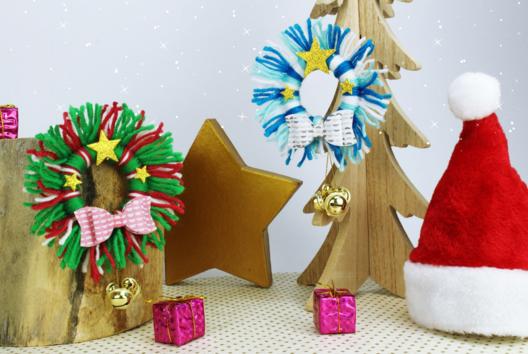 Couronne de Noël en laine - Noël - 10doigts.fr