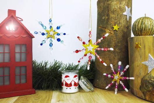 Flocons de neige en perles - Noël - 10doigts.fr