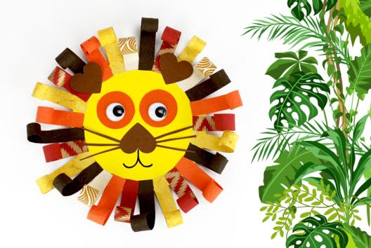 Lion avec des bandes de papier - Activités enfantines - 10doigts.fr