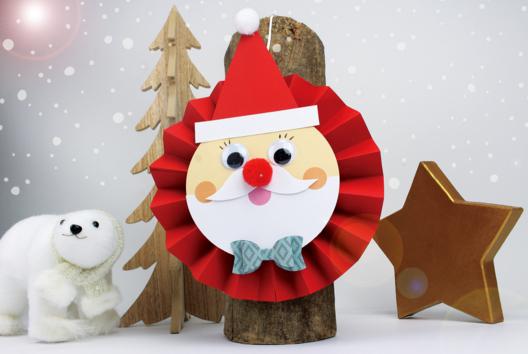 Père Noël en papier tout rond et tout mignon - Noël - 10doigts.fr