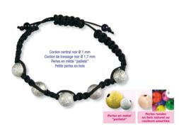 Shamballas... avec perles en métal pailleté + perles en bois
