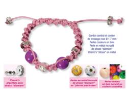 Shamballas... avec perles en bois + perles métal avec strass diamant + charm's strass en métal