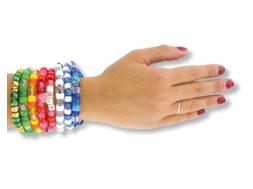 Bracelets cordon satin + perles plastiques