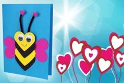 Carte abeille coeurs - Fête des Mères - 10doigts.fr