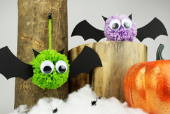 Chauves souris pompons - Halloween - 10doigts.fr