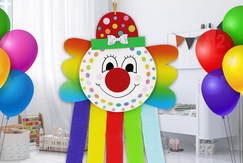 Clown arc-en-ciel - Carnaval, fêtes, masques - 10doigts.fr