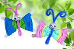 Papillons en laine - Activités enfantines - 10doigts.fr