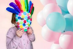 Masque carnaval confettis et plumes - Carnaval, fêtes, masques - 10doigts.fr