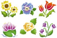 Pochoirs fleurs - Set de 6 - Pochoir Nature - 10doigts.fr