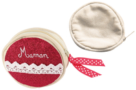 Porte-monnaie en coton écru avec fermeture zippée - Coton, lin - 10doigts.fr
