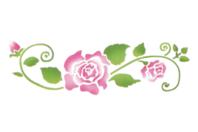 Pochoir frise roses arabesques - 15 x 40 cm - Pochoirs frises - 10doigts.fr