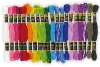 Echevettes de fils coton - couleurs vives, lot de 20 - Rubans et ficelles - 10doigts.fr