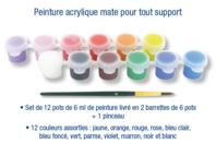 Barrette de peinture acrylique mat - 12 pots de 6ml + 1 pinceau - Peinture acrylique - 10doigts.fr