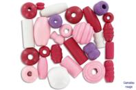 Perles en bois en camaïeu de rouges - Set de 110 - Perles en bois - 10doigts.fr