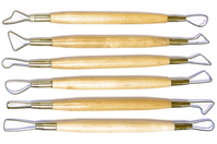 Set de 6 mirettes assorties avec manches en bois - Outils de Modelage - 10doigts.fr