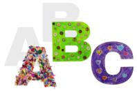 Lettres de l'alphabet en carte forte - 22 cm - Coloriages - 10doigts.fr