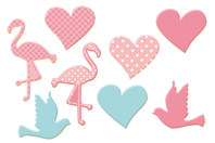 Motifs Coeurs, Flamants roses et Colombes en bois décoré - Motifs peint - 10doigts.fr