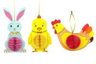 Suspensions de Pâques - Lapin, poussin et poule - Coloriages - 10doigts.fr