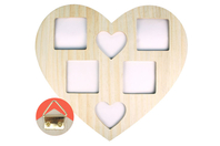 Cadre coeur 6 photos en bois naturel - Cadres photos - 10doigts.fr