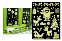 Stickers de Noël phosphorescents repositionnables - Set de 25 stickers - Décoration des vitres - 10doigts.fr