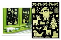 Stickers de Noël phosphorescents repositionnables - Set de 25 stickers - Décoration des vitres pour Noël - 10doigts.fr
