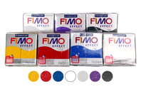 FIMO : set de 7 pains de 57 gr - couleurs pailletées + CADEAU - Les kits Fimo - 10doigts.fr