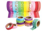 Tissus adhésifs assortis - Set de 12 rouleaux - Masking tape - 10doigts.fr