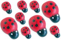Mini coccinelles en bois peint - Lot de 25 - Motifs peint - 10doigts.fr