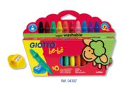 Crayons cire incassables Giotto Bé-bé + taille-crayons - Crayons cire - 10doigts.fr