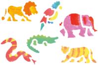 Pochoirs Animaux de la Jungle - Set de 6 - Pochoir Animaux - 10doigts.fr