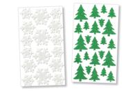 Stickers sapin et flocon en caoutchouc mousse pailleté - Set de 40 - Formes en Mousse autocollante - 10doigts.fr