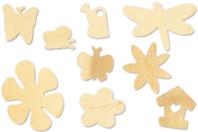 Set de 70 formes motifs plats en bois naturel : feuilles, papillons, fleurs, insectes, arrosoirs... - Motifs brut - 10doigts.fr
