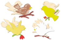 Set de 8 oiseaux assortis en bois naturel - Mémos et magnets - 10doigts.fr