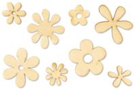 Fleurs en bois naturel - Motifs brut - 10doigts.fr
